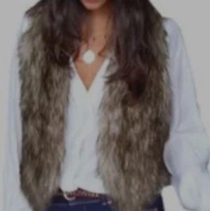 Womens brown faux fur vest